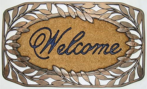 A1 Home Collections A1HC Classic Welcome Brush Coir Doormat with stylish leaf Border, Large 24 x 36 Inch size-Elegant Bronze Finish, 23 X 38