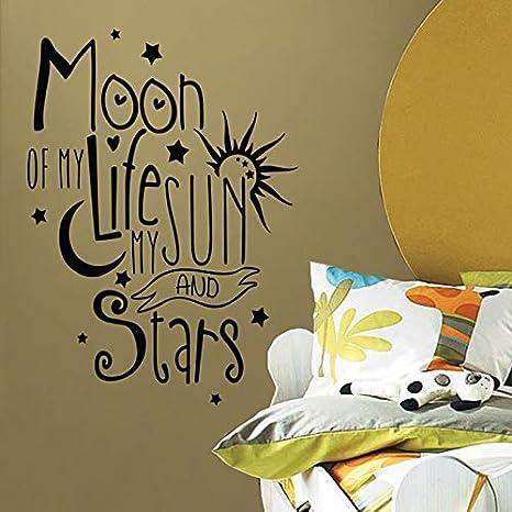 Ajcwhml Tatuajes de Pared Luna de mi Vida Mi Sol Mis Citas de Estrellas Niños Vivero Etiqueta de Vinilo removible Dormitorio Decoración Mural 42X60 cm: Amazon.es: Hogar