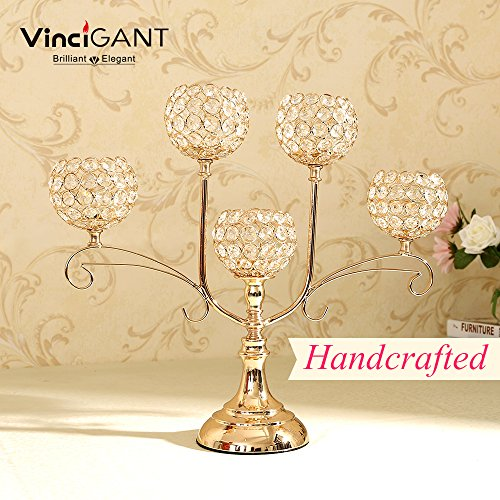 VINCIGANT Gold Crystal Candlesticks for Dining Coffee Table Decorative Centerpiece Thanksgiving Gift,17 Inches Tall