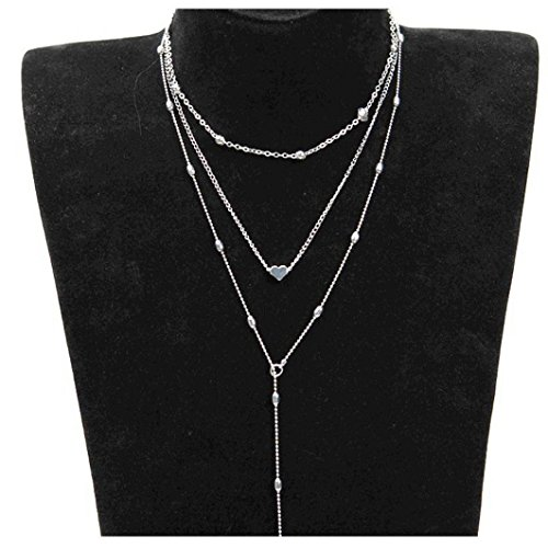 Caopixx Women Necklace, Women's Three Layers Jewelry Pendant Choker Chain Sweater Necklace Gold Necklace (Silver, Alloy)