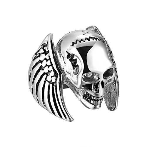 AMDXD Jewelry Stainless Steel Ring Band for Men Skull Wings Rings Silver Black Tone Size (Mens Skull Wings)