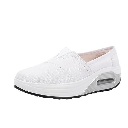 LINNUO Plataforma Zapatos Cómodos Mujer Sneaker Cuña Color Sólido Casual Zapatillas de Deporte Running Wedge Mocasines