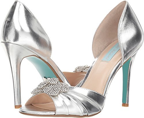 Pumps Leather Betsey Johnson - Blue by Betsey Johnson Women's SB-Briar Pump, Silver/Metallic, 8.5 M US