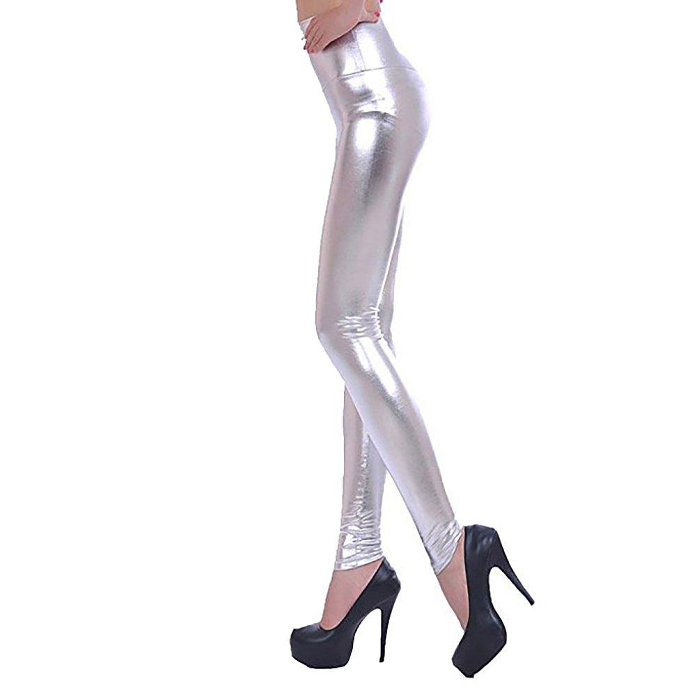 a507e2cbb59 LAEMILIA Leggings Femme Collant Crayon Taille Haute Cuir Faux PU Sexy  Casual Elastique Slim Basique (Argenté)  Amazon.fr  Vêtements et accessoires