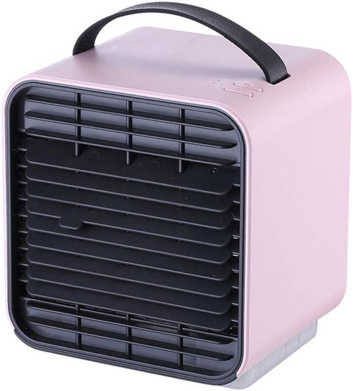 Mini-aire acondicionado USB de 5 pulgadas Ventilador de mesa silencioso recargable Ventilador de enfriamiento de aire portátil de viento de 3 velocidades con lámpara de noche para la oficina,Rosado