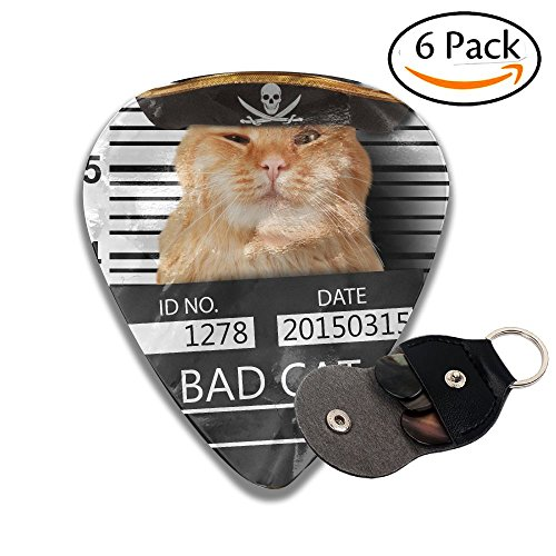 (Wxf Cat Holding A Banner Offender On White Background Violation Of The Law Stylish Celluloid Guitar Picks Plectrums For Guitar Bass .46mm 6 Pack)