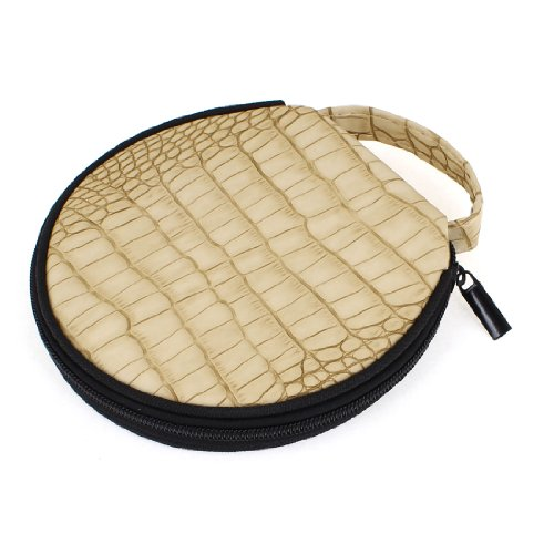 Crocodile Pattern Faux Leather 20 Disc CD VCD Holder Bag Case Beige