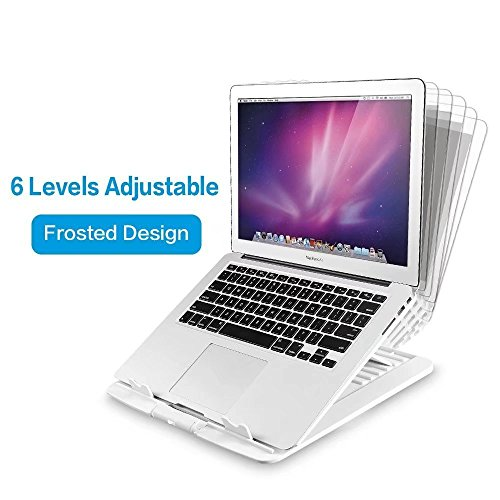 Aelfox Adjustable Laptop Stand on Table Economical Design for 11''-17'' MacBook, Laptop, PC, iPad etc. (White) by Aelfox