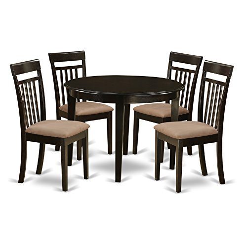 East West Furniture BOCA5-CAP-C 5-Piece Kitchen Table and Chairs Set, Cappuccino Finish (Slat 5 Back Piece)