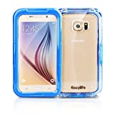 Galaxy S6 Waterproof Case with Strap, Easylife® [New Version] 6.6ft Underwater Waterproof Dustproof Dirtproof Shockproof Anti-shock Transparent Box Full Sealed Cover for Samsung Galaxy S6 (Blue) IP 68 Certified