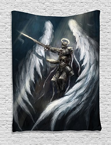 Fantasy House Decor Tapestry Wall Hanging by Ambesonne, Angel Knight with Majestic Wings Spiritual Superior Power Imagination Art Print, Bedroom Living Room Dorm, 60 W x 80 L Inches, Petrol Blue Gray