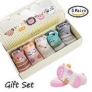 Dicry 5 Pairs Newborn 3D Ears Cartoon Animal Anti Slip Cotton Baby Toddler Socks (0-6 Months,B-Pairs of 5)