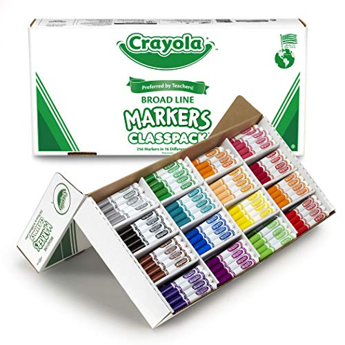 Crayola Broad Line Markers Bulk, 16 Bold Colors, Great for Classroom, Educational, All-Purpose Art Tools, 256 Count - Mark 1 Bucket