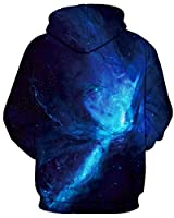 GLUDEAR Unisex Realistic 3D Digital Print Pullover Hoodie Hooded Sweatshirt,Blue,9-10 Years