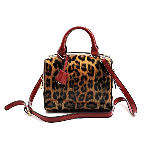 Leopard Printed Leather Tote (Elphis Leopard Glossy Animal Printed Box Satchel Crossbody Bag Purse (L049) (Red))