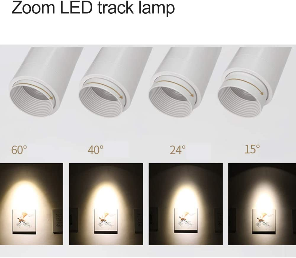 ANYE White Zoom led Track Lights 15 W Adjustable Track Head 3000 K 3-Wire Round LED H-Type Track Head Lighting cob spotlights Adjustable Focus LED Included spot Light THD0017
