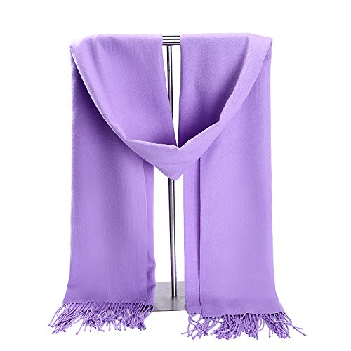 Christmas Dress Up Ideas (Gift Box Collection LERDU Ladies Gift Idea Cashmere Scarf Christmas Xmas Holiday Warm Wool Wrap Shawl Winter Stole for Women Lilac)