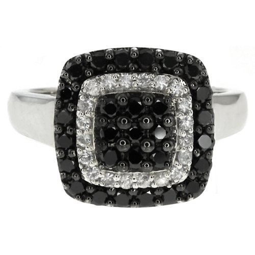 1.00 Ct Round Black Diamond and White Sapphire Sterling Silver Ring