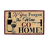 """DII Indoor/Outdoor Natural Coir Easy Clean Rubber Back Entry Way Doormat For Patio, Front Door, All Weather Exterior Doors, 18 x 30"""" - If YouForgot the Wine GO HOME"""