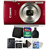Canon IXUS 185 / ELPH 180 20MP Red Compact Digital Camera with 8GB Top Accessory Gift Set