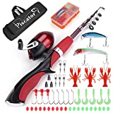 PiscatorZone Portable Kids Fishing Pole Spinning Rod and Reel Combos Travel Fishing Rod Set with Full Kits Carrier Bag for Sea Saltwater Freshwater Fishing