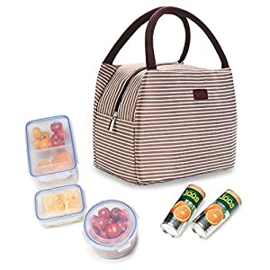 Aoztek Reusable Insulated Lunch Box Tote Bag Small Cute Cooler Bag, for Women, Kids, Adults (Classic Dark Coffee Colour and Strips Print)