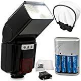 High-Power Automatic Flash with LED Video Light Kit for 1300D, 1200D, 1100D, 800D, 750D, 700D, 650D, 600D, 550D, 500D, 100D, 200D and Other Canon DSLR Cameras