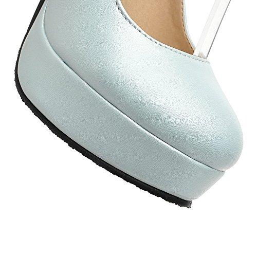 AllhqFashion Damen PU Leder Eingelegt Schnalle Rund Zehe Hoher Absatz Pumps Schuhe Blau
