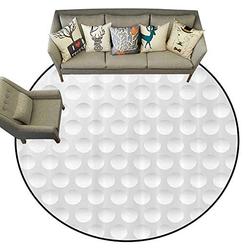 Round Floor Cover Grey Decor Circle Rounds Design Spherical Golf Balls Club Recreation Sports Hobby Themed Image Living Dinning Room and Bedroom Rugs D67 White (The Simpsons Golf Club Covers)