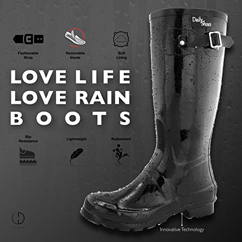 Calf Rainboots DailyShoes Knee Toe Black Round High Rain Women's Hunter Mid qqZzrw4E