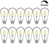 LED Edison Bulb Dimmable, Daylight White 5000K, SHINE HAI 4W ST64 Vintage LED Filament Light Bulbs, 40W Equivalent, E26 Medium Base, Pack of 12