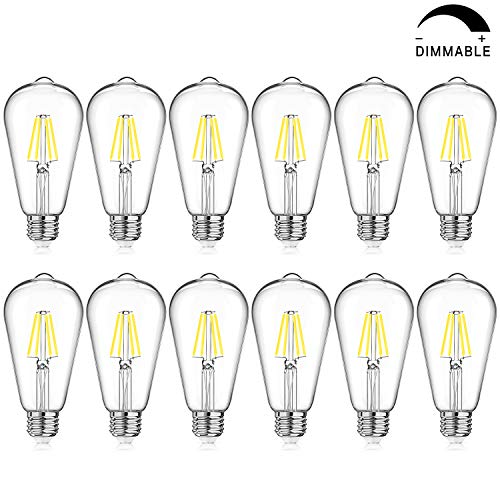 LED Edison Bulb Dimmable, Daylight White 5000K, 40W Equivalent, 4W Vintage ST64 LED Filament Light Bulbs, E26 Medium Base, Pack of 12