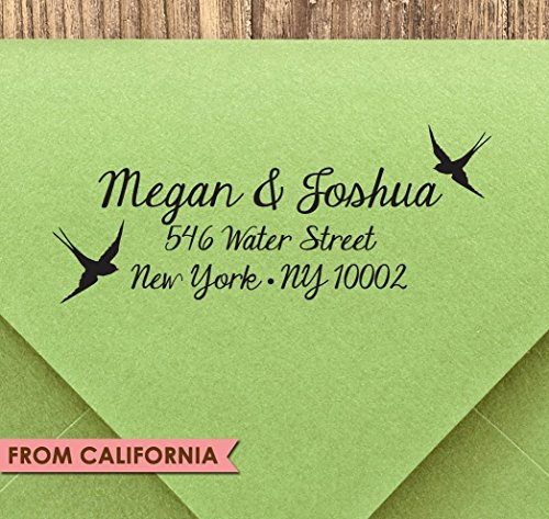 Love Birds CUSTOM ADDRESS STAMP #5 with proof from USA, Self-Inking stamp or Traditional Rubber Stamp, Return Address Stamp, Custom Stamp, RSVP Stamp, Wedding Stamp, Love Birds, Calligraphy Stamp by SaveTheDateStamp