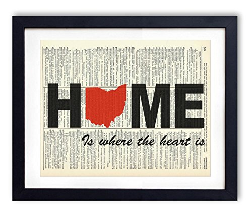 Ohio Home Is Where The Heart Is Upcycled Vintage Dictionary Art Print 8×10