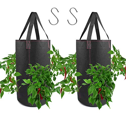 (2 Pack Hanging Planter for Hot Pepper, Fabric Plant Pots for Growing Hot Pepper with Hooks Included)