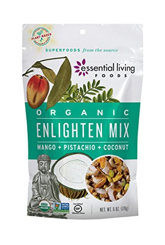 Essential Living Foods Organic Enlighten Trail Mix, Tropical Super Fruit and Nut, Mango, Coconut, Cashews, Mulberry, Pistachios, Vegan, Superfood, Non-GMO, Gluten Free, 6 Ounce Resealable Bag