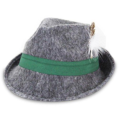 Trachtenhut grau mit grünem Band und Feder Jäger