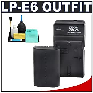 Premium Tech PT-LPE6 Battery with Charger for Canon LP-E6 + Accessory Kit for EOS 5D Mark II Digital SLR Camera