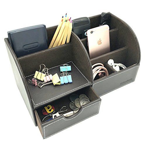 UnionBasic Office Desk Organizer - Multifunctional PU Leather Desktop Storage Box - Business Card/Pen/Pencil/Mobile Phone/Stationery Holder (Coffee) ()