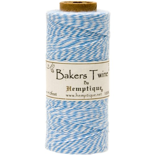 Hemptique Cotton Baker's Twine Spool 2 Ply, 410-Feet, Light Blue -