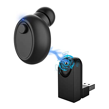 Mini Auricular Bluetooth 4.1, Invisible Auricular Inalámbrico con Inductivo Magnético Cargador, In Ear Auriculares