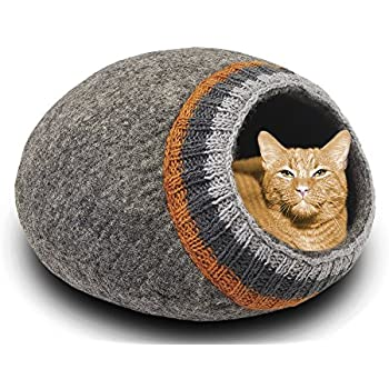 MEOWFIA Premium Wool Cat Bed Cave (Large) - Eco-Friendly 100% Merino Wool Felt Cat Bed (Large, Dark Gray Knitting)