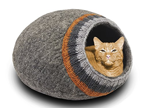 MEOWFIA Premium Wool Cat Bed Cave (Large) - Eco-Friendly 100%