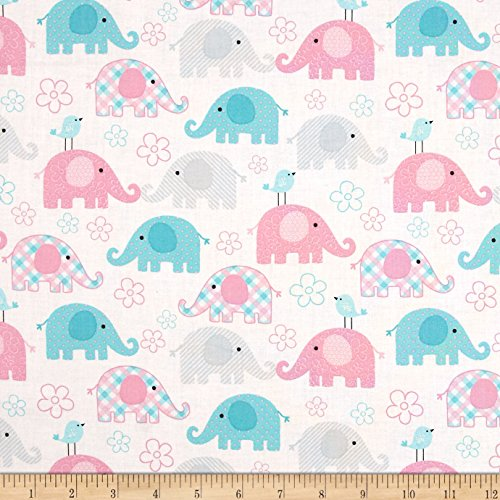 Santee Print Works Child's Play Elephants Pastel Fabric by The Yard,