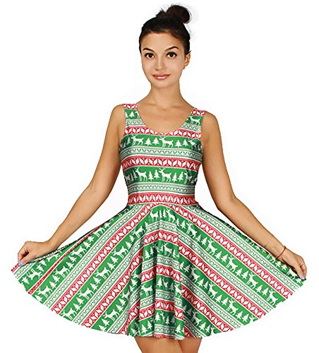 Cute Aztec Pattern Print Sleeveless Skater Dress Ugly Christmas Party Costume ()