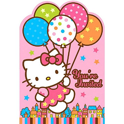 Adorable Hello Kitty Birthday Party Invitations Card Supply (8 Pack), Multi Color, 3 7/8