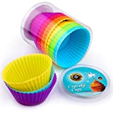 Cupcake Liners 24 pc Premium Silicone Cupcake Cases Wrappers Muffin Moulds – Reusable Non-Stick Muffin Cake Liners Perfect for Baking Gelatin, Snack, Frozen Treats, Ice Cream, Desert Molds Multicolor