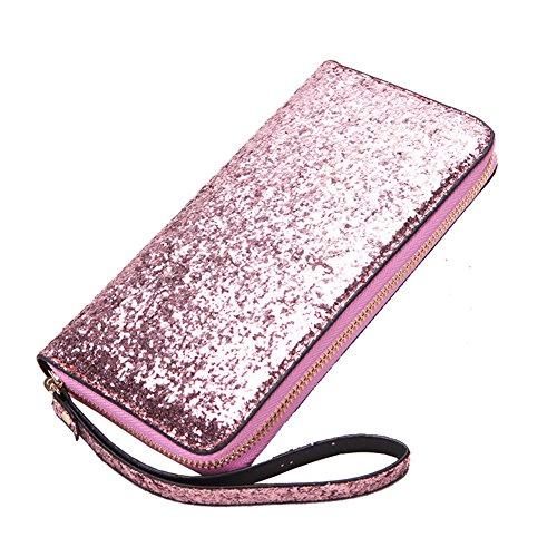 BYHai Women Wristlet Wallet Sequined Clutch Bag With Zipper Closure