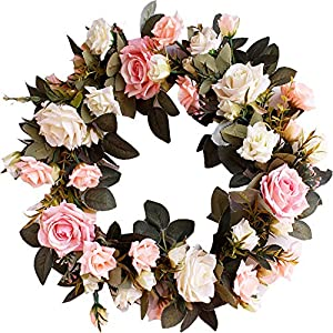 HEBE 16″ Artificial Rose Flower Wreath for Front Door Pink and Milk White Rose Flowers with Greenery Leaf Welcome Door Wreath Farmhouse Floral Wreath for Window,Home Decor
