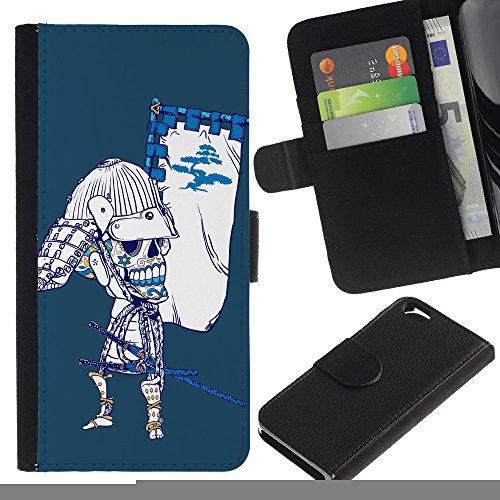 LASTONE PHONE CASE / Luxe Cuir Portefeuille Housse Fente pour Carte Coque Flip Étui de Protection pour Apple Iphone 6 4.7 / Japanese Sugar Skull Samurai Bow Skeleton